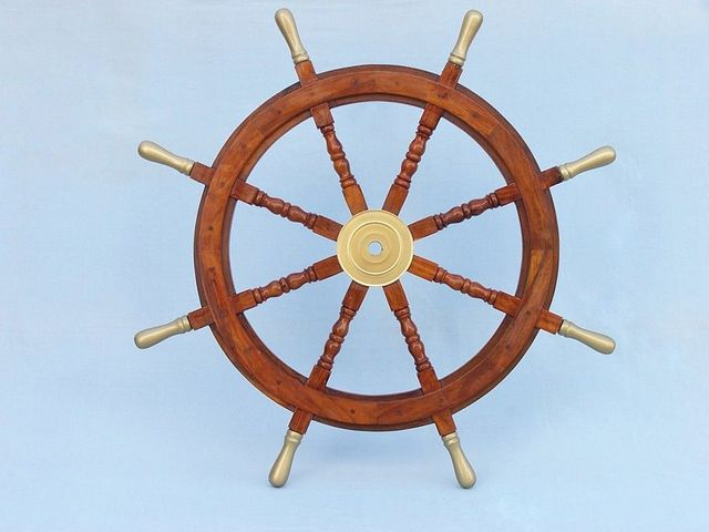 Wood and Brass Ship Wheel 36 with Brass Spokes