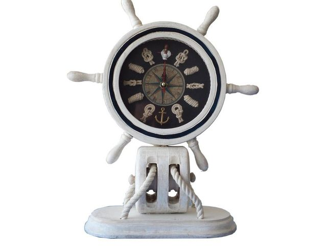 Wooden Whitewashed Ship Wheel Mantel Knot Clock 13