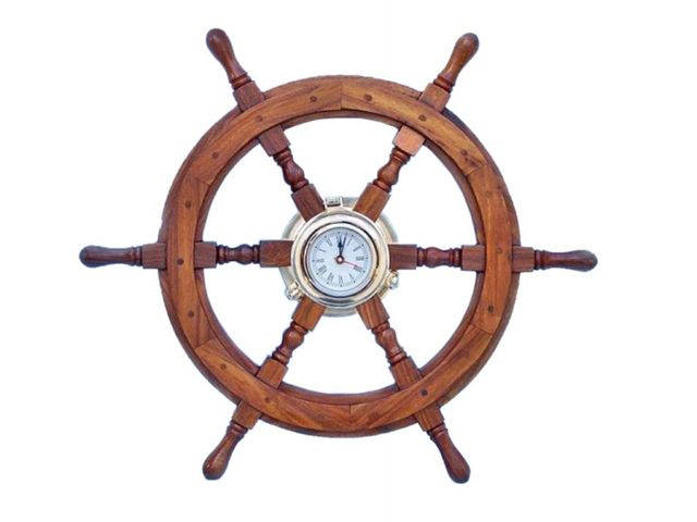 Deluxe Class Wood And Brass Ship Wheel Clock 24