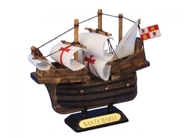 Wooden Santa Maria Tall Model Ship 4