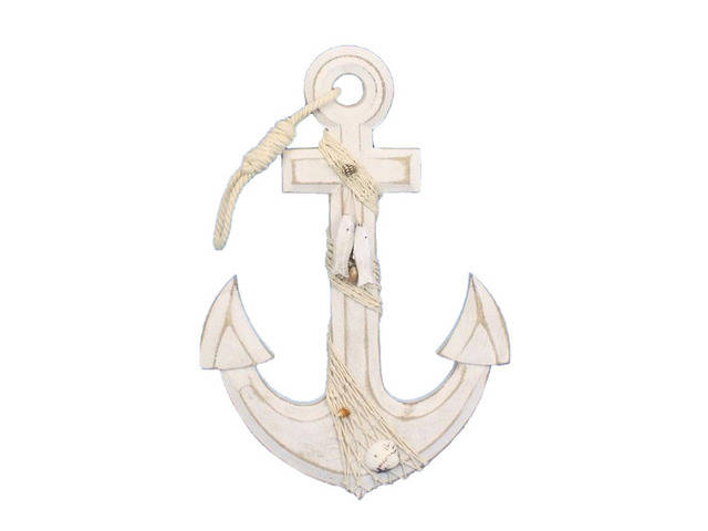 Wooden Rustic Whitewashed Anchor w- Hook Rope and Shells 13