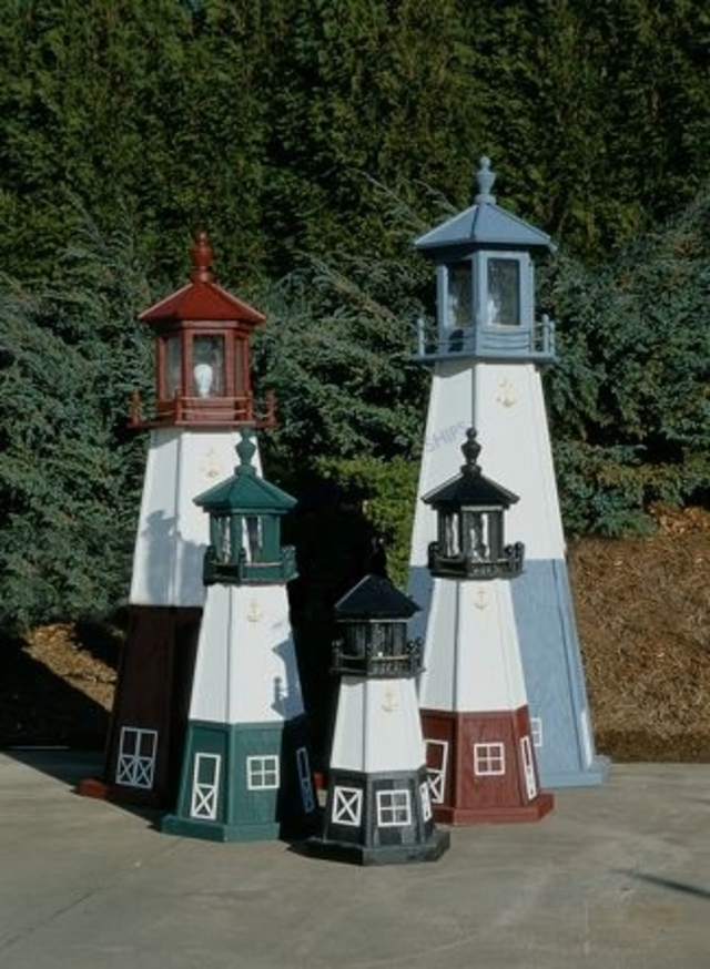 Vermillion Electric Painted Wooden Lighthouse 96