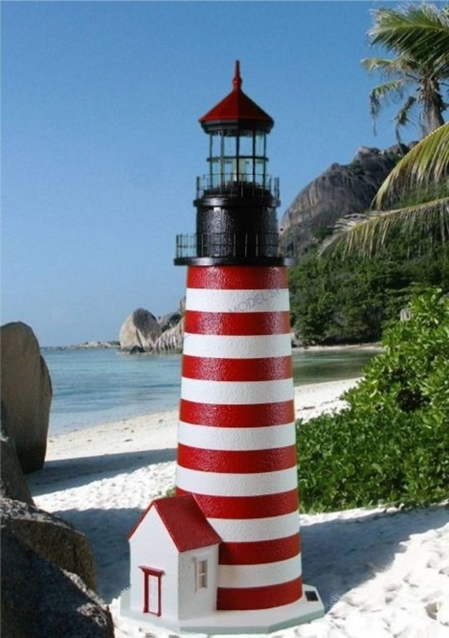 West Quoddy Stucco Electric Lawn Lighthouse 48