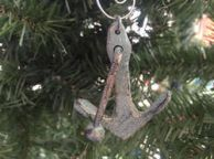 Antique Bronze Cast Iron Anchor Christmas Ornament 5