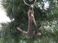 Antique Gold Cast Iron Anchor Christmas Ornament 5
