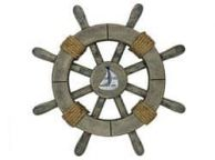 Rustic Decorative Ship Wheel With Sailboat 12