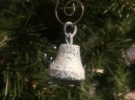 Rustic Dark Blue Whitewashed Cast Iron Bell Christmas Ornament 4