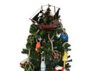 Wooden Calico Jackandapos;s The William Model Pirate Ship Christmas Tree Topper Decoration
