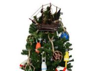 Wooden John Gowandapos;s Revenge Pirate Ship Christmas Tree Topper Decoration