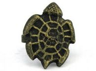 Antique Gold Cast Iron Turtle Decorative Napkin Ring 4 - set of 2