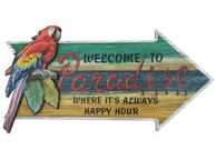 Wooden Arrow Welcome To Paradise Parrot Beach Sign 18