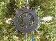 Dark Blue Decorative Ship Wheel Christmas Tree Ornament 6