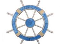 Wooden Rustic Light Blue and White Decorative Ship Wheel 30