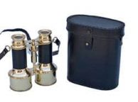 Commanders Solid Brass Binoculars with Leather Belt and Leather Case 6