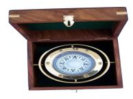 Antique Brass Gimbal Compass w- Rosewood Box 4.5