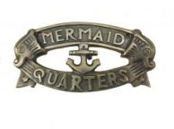 Antique Solid Brass Mermaids Quarters Sign 8