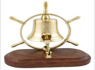 Solid Brass Ship Wheel Bell on Wood Base 7
