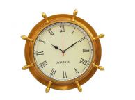 Antique Brass Ship Wheel Clock 15