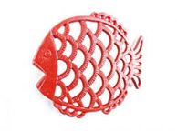 Rustic Red Cast Iron Big Fish Trivet 8