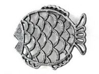 Antique Silver Cast Iron Big Fish Trivet 8