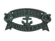 Seaworn Blue Cast Iron Poop Deck Quarters Sign 9
