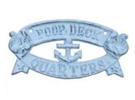 Whitewashed Dark Blue Cast Iron Poop Deck Quarters Sign 9