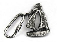 Antique Silver Cast Iron Sailboat Key Chain 5
