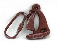 Red Whitewashed Cast Iron Sailboat Key Chain 5