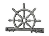 Rustic Silver Cast Iron Ship Wheel with Hooks 8