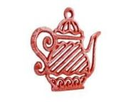 Rustic Red Cast Iron Teapot Trivet 9
