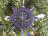 Dark Blue Decorative Ship Wheel With Seagull Christmas Tree Ornament 6