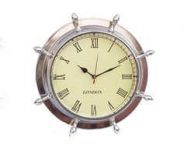 Chrome Ship Wheel Clock 15
