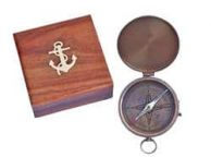 Antique Brass Gentlemenandapos;s Compass w- Rosewood Box 4