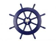 Dark Blue Decorative Ship Wheel with Palm Tree 18