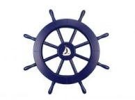 Dark Blue Decorative Ship Wheel with Sailboat 18