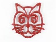 Rustic Red Cast Iron Cat Trivet 7