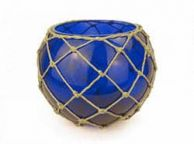 Dark Blue Japanese Glass Fishing Float Bowl with Decorative Brown Fish Netting 10