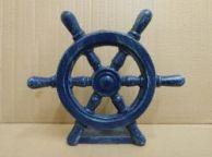 Rustic Dark Blue Cast Iron Ship Wheel Door Stopper 9