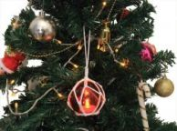 LED Lighted Orange Japanese Glass Ball Fishing Float with White Netting Christmas Tree Ornament 3