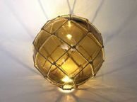 Tabletop LED Lighted Amber Japanese Glass Ball Fishing Float with Brown Netting Decoration 10