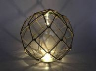 Tabletop LED Lighted Clear Japanese Glass Ball Fishing Float with Brown Netting Decoration 10