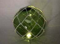 Tabletop LED Lighted Green Japanese Glass Ball Fishing Float with White Netting Decoration 10