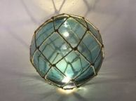 Tabletop LED Lighted Light Blue Japanese Glass Ball Fishing Float with Brown Netting Decoration 10