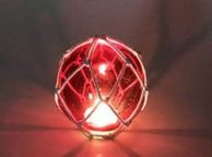 Tabletop LED Lighted Red Japanese Glass Ball Fishing Float with White Netting Decoration 4