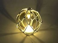 Tabletop LED Lighted Amber Japanese Glass Ball Fishing Float with Brown Netting Decoration 4