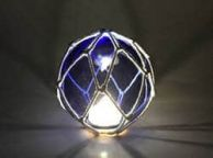 Tabletop LED Lighted Dark Blue Japanese Glass Ball Fishing Float with White Netting Decoration 4