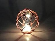 Tabletop LED Lighted Clear Japanese Glass Ball Fishing Float with Red Netting Decoration 4