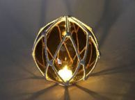 Tabletop LED Lighted Amber Japanese Glass Ball Fishing Float with White Netting Decoration 6