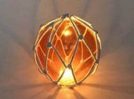 Tabletop LED Lighted Orange Japanese Glass Ball Fishing Float with White Netting Decoration 6