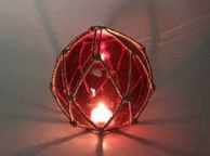 Tabletop LED Lighted Red Japanese Glass Ball Fishing Float with Brown Netting Decoration 6